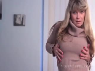 Excited blonde cougar teasing her sweet mature pussy