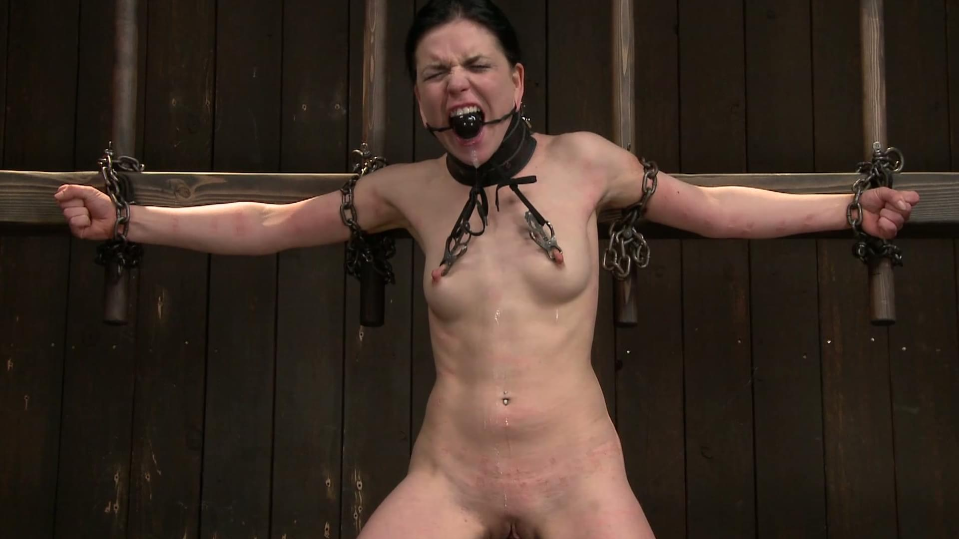 Young blonde slave girl gagged and suspended for bdsm nipple torture