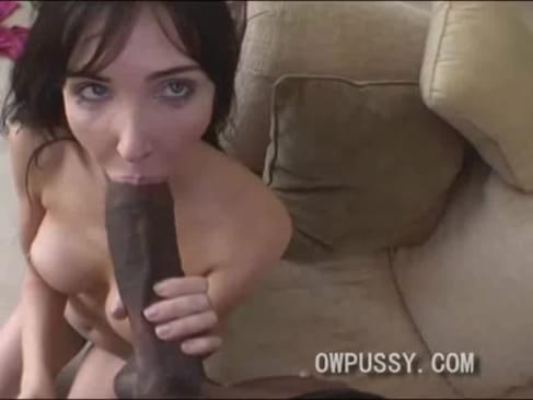 Brunette slut sucks biggest dick mine, not