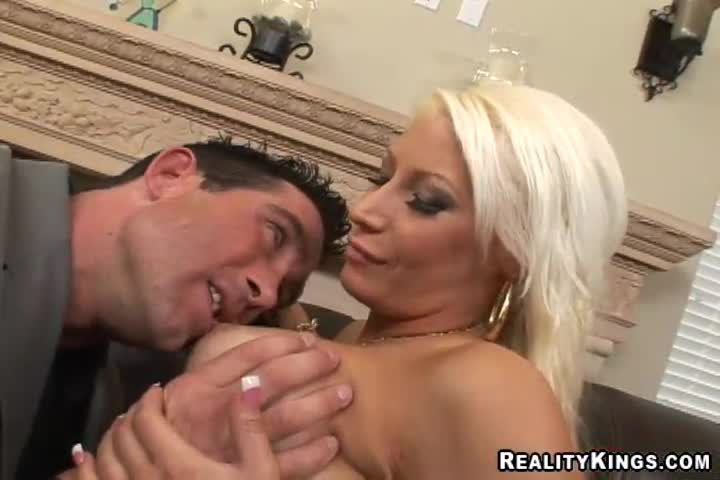 Busty blonde MILF seduce a horny dude and get his big dick