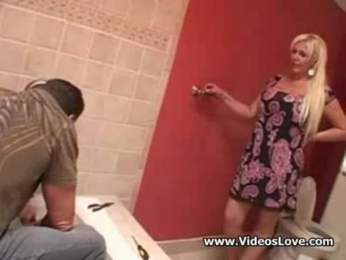 Busty housewife fucks plumber