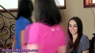 Lesbians rubbing pussies on massage