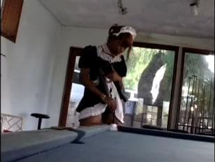 Sex billiard table maid