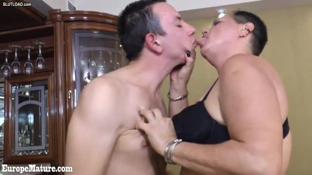Granny kissing boy