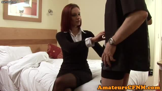 Classy redhead jerking off lucky cock