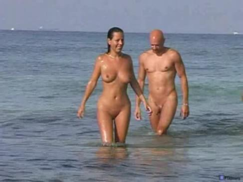 Lesbian couple on nude beach