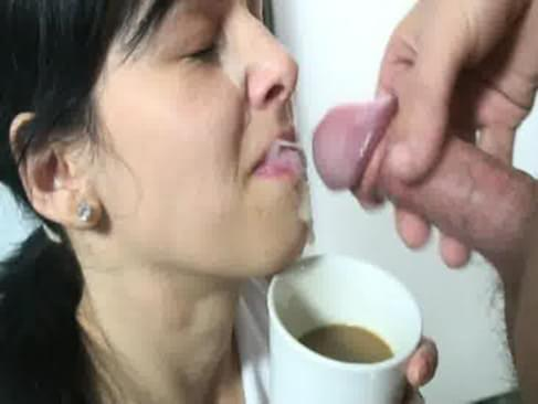 Girls drink sperm with coffe not so