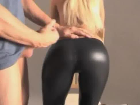Yoga cum on pants her