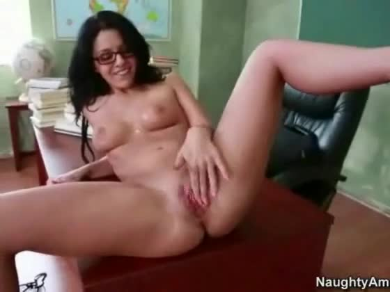 Cute geek playing with herself 9