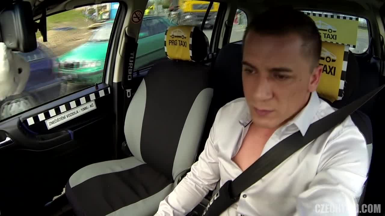 Squirting taxi brit riding cab drivers cock
