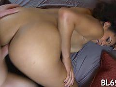 Darksome chick cums many times