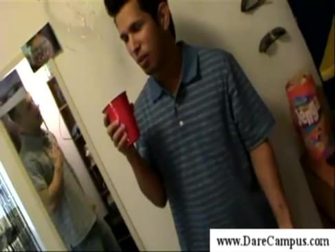 drinking coke together leads to blowjob from a college guy