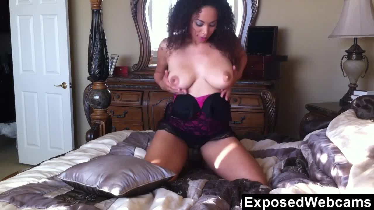 Ebony girl orgasming on her bed 9