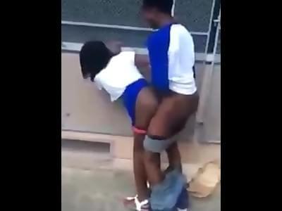 Ebony fucked outside