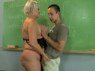 Chubby mature tutor fucks her student