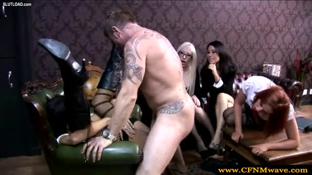 image Cfnm femdom skanks take turn to wank guy