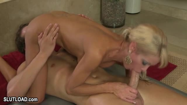 image Blond busty mother loves to fuck with her young lover
