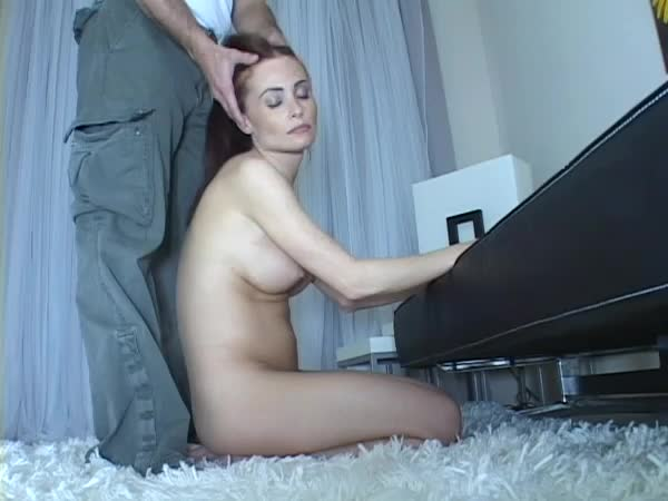 A blindfolded ginger lea gets a load of cum on her face 3