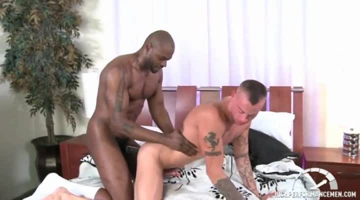 Muscly white guy fucking black ass