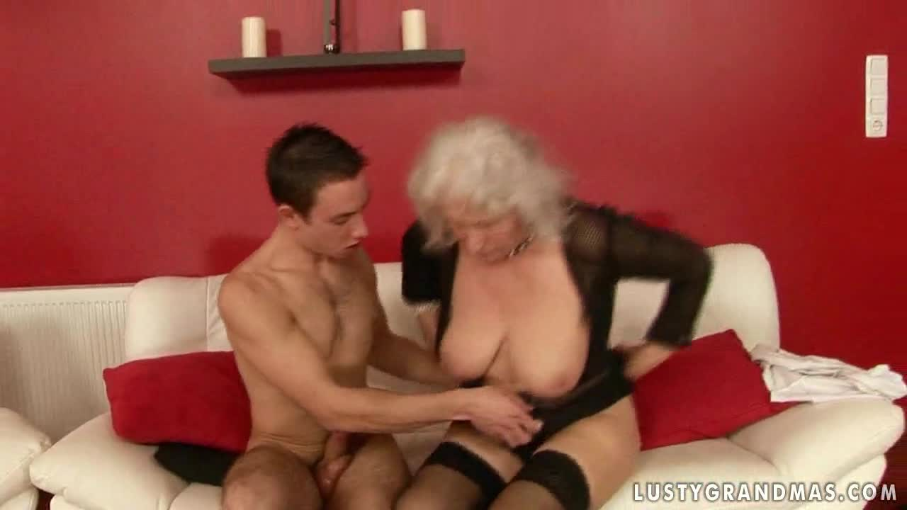 Nude granny and boy