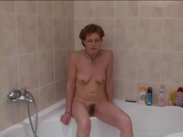 Shaved mature shower