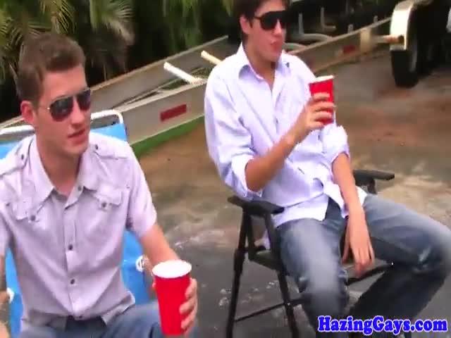 Hazed college amateur jerks out facial