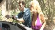Big titted blonde milf, Holly Halston, having car problems, so she seduces James Dean and takes his cock in her pussy and tits after it got sucked.
