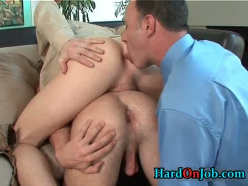 Gay male butt licking