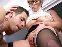 Sexy grandmother seduces trainee