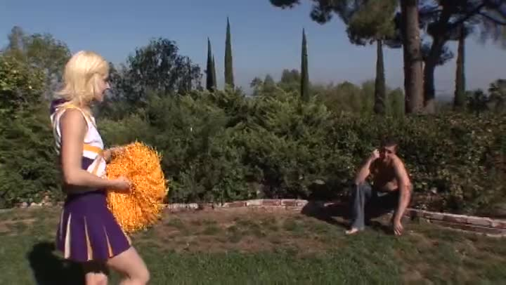 Adorable Blonde Cheerleader Getting Drilled Outside Movies