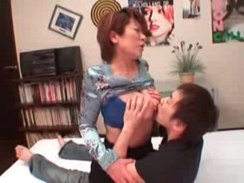 Japanese mother seduces her boy and he starts to lick her big boobs and to ...