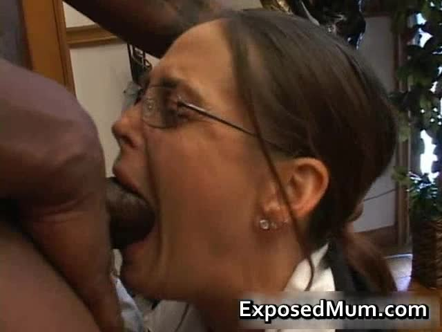 Sexy mature woman with glasses tube