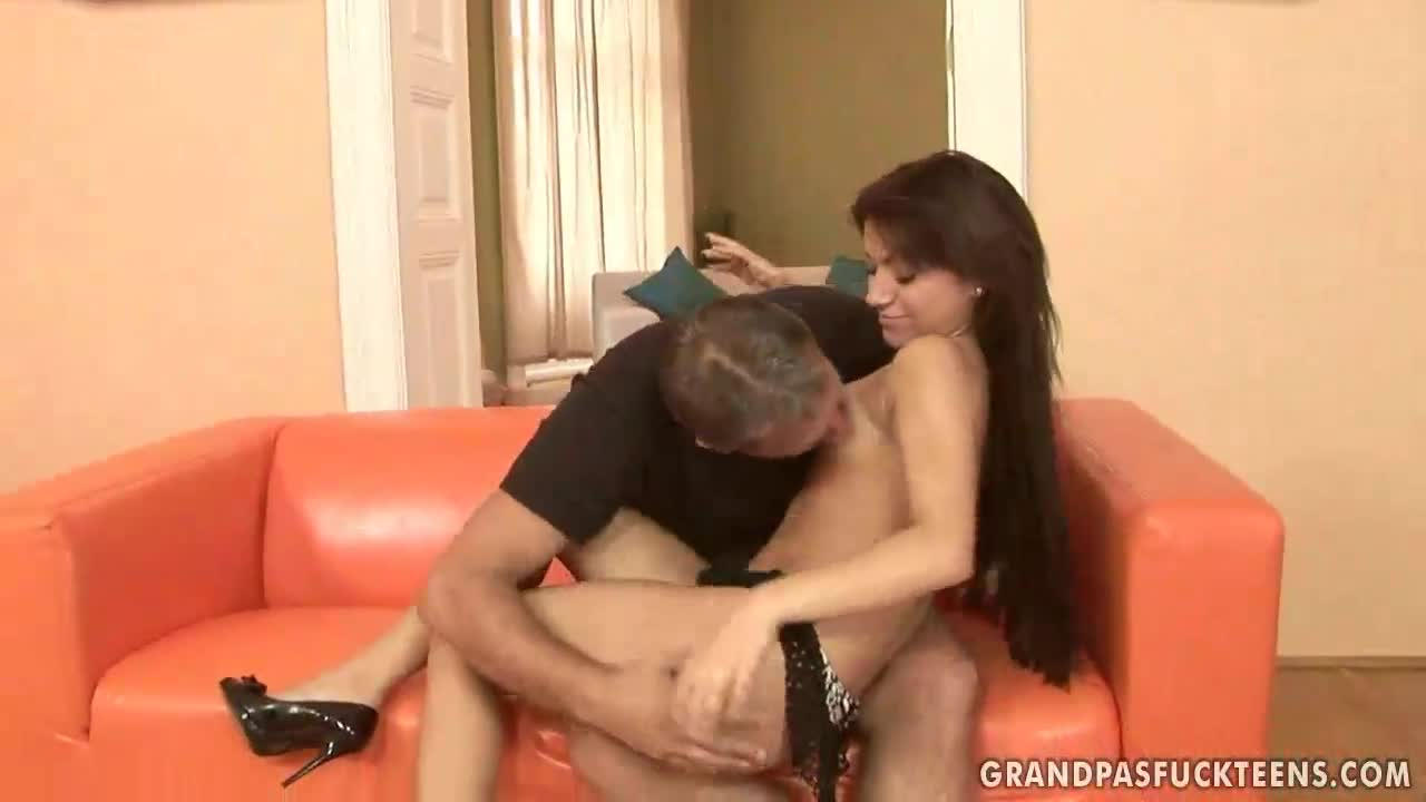 Young Brunette Fucks Old Man