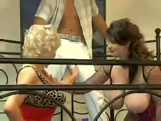 Hot threesome with super tits milfs