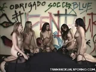 These shemales took charge in this scene and dominated a group of hot studs. Meet Penelope, Mickaila Alves, Andrea DeOliviera, Sharon Lolpes and Camila Riberiro, these trannies really know how to jack up a party with their hot bodies and appetite for hardcore sex.