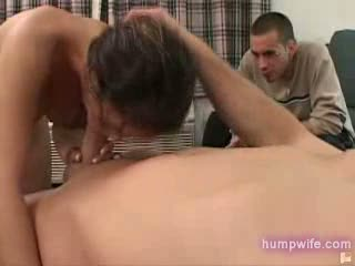 Husband watches wife sucking cock