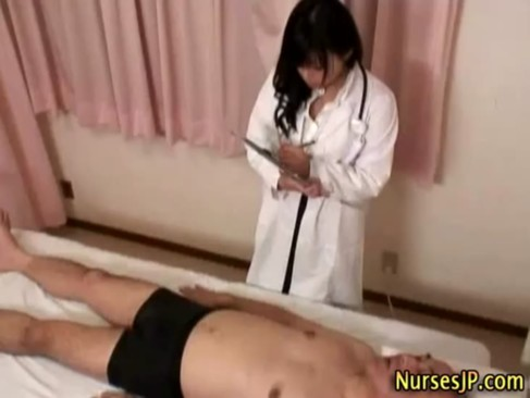 Japanese hottie nurse gets dirty playing with old mans cock