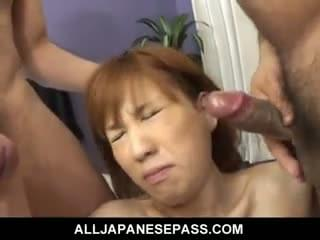 In this update furry mature babe Maria Asagiri has her hands full when two men take control of the situation. they dont cut her a break and as they are man handling her pussy and stuffing her mouth with dick they are sending it live via her own cell phone. They continue to skull fuck her even while she is having her pussy split wide open.