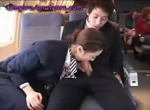 Japanese flight attendant strap on group action 1