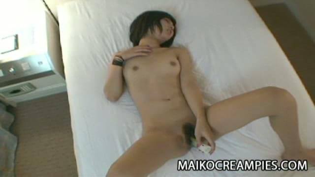 Sexy Japanese teen sucking his mans hard cock before putting it inside her wet, hairy pussy.