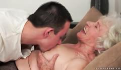 grannies tits on Sucking