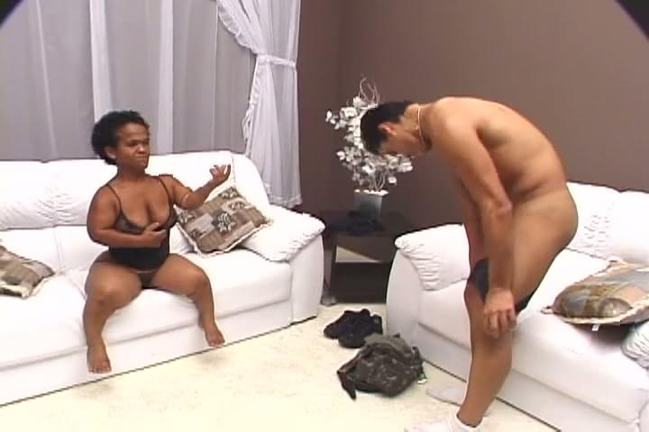 Midget takes big cock whipshandcuffs and a 10