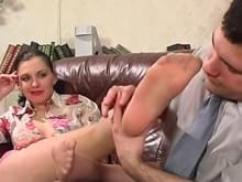 Pantyhose feet nylons toes amateur