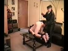 Blonde leather mistress