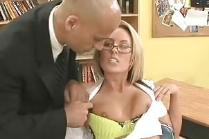 fucked Blonde slut teacher student by