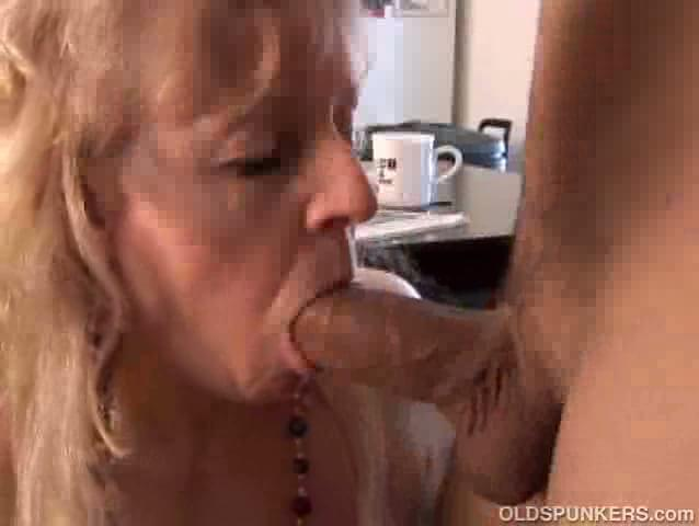 Mature blonde throat fucked