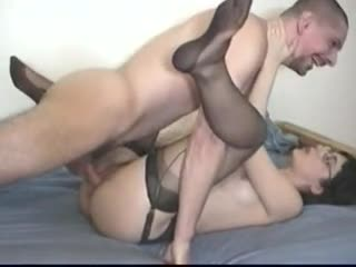 Good mature in stockings fucks hard