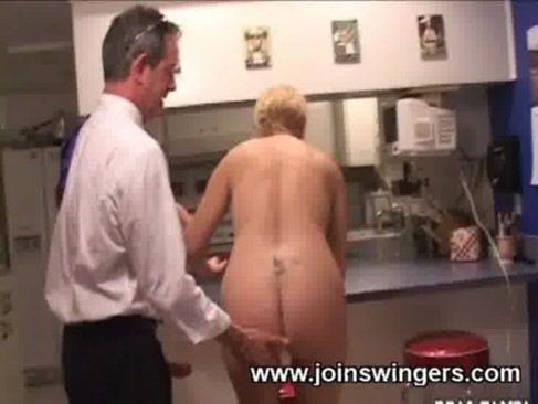 Mature handjob in kitchen. Willing lady is completely naked while jerking ...