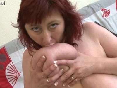 mature saggy tits with Redhead