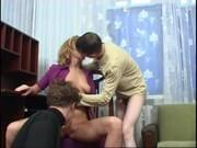 Mature Russian slut fucked by two guys